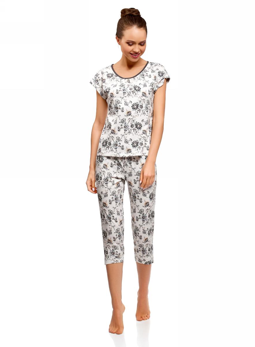 Пижама женская oodji Ultra, цвет: белый, серый. 56002197-4/46154/1223F. Размер XS (42)