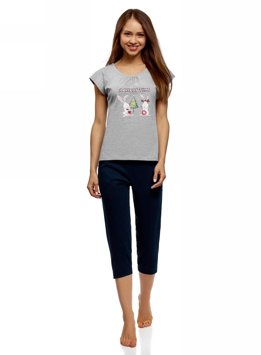 Пижама женская oodji Ultra, цвет: светло-серый, темно-синий меланж. 56002197-5/46154/2079Z. Размер L (48) пижама женская элли