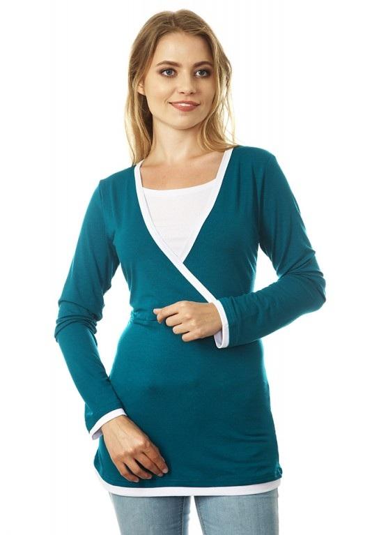 Блузка для беременных и кормящих Mum's Era Гармония, цвет: зеленый. 35233. Размер S (44) футболка milkymama футболка для кормящих мам