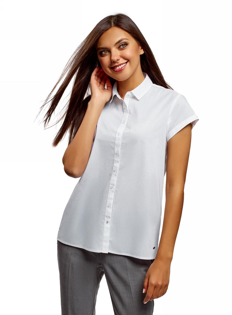 Рубашка женская oodji Ultra, цвет: белый. 13K11001/46401/1000N. Размер 36 (42-170) пиджаки oodji пиджак