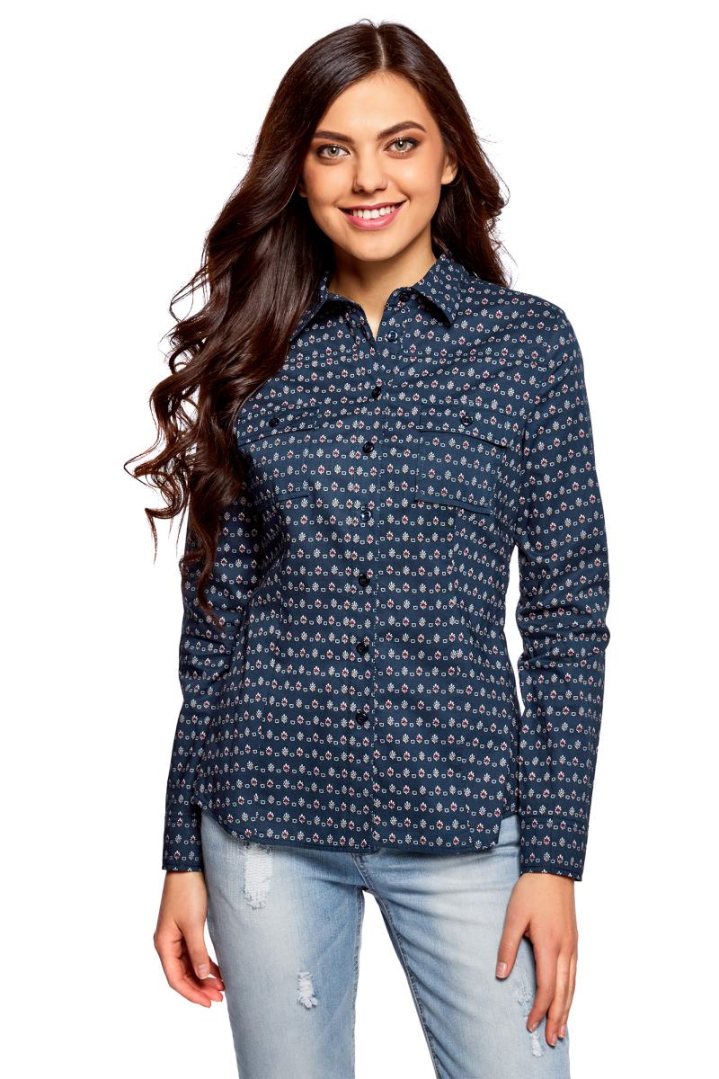 Рубашка женская oodji Ultra, цвет: темно-синий, кремовый. 11442121-5B/43609/7930G. Размер 44 (50-170) блузки и рубашки