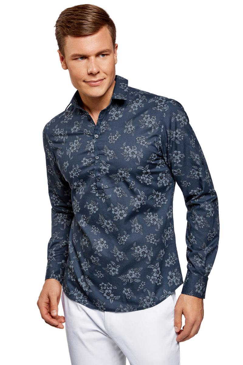 Рубашка мужская oodji Lab, цвет: синий. 3L310144M/46603N/7975F. Размер S (46;48)
