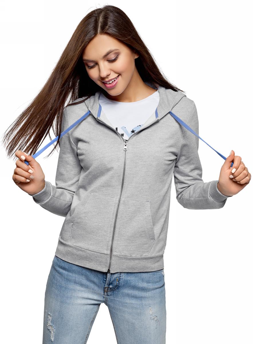 Толстовка женская oodji Ultra, цвет: светло-серый, синий меланж. 16901079-10/46173/2075Z. Размер S (44)16901079-10/46173/2075ZТолстовка с капюшоном и принтом на спине