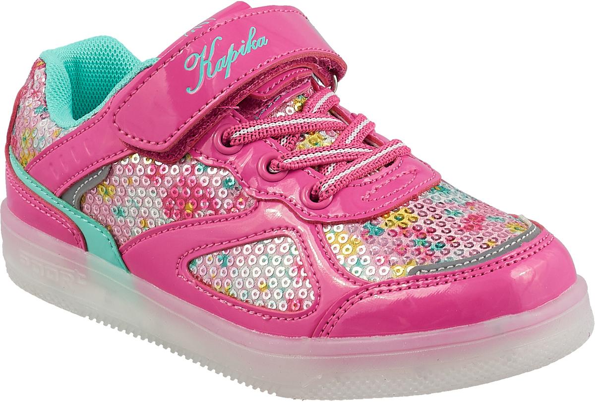 Кроссовки для девочки Kapika, цвет: фуксия. 72284-1. Размер 3272284-1Кроссовки от Kapika займут достойное место в гардеробе вашего ребенка! Модель изготовлена из текстиля и искусственной кожи. Классическая шнуровка и хлястик на липучке, обеспечивают надежную фиксацию обуви на ноге. Внутренняя поверхность из текстиля, обеспечивает комфорт и предотвращает натирание. Стелька из кожи и текстиля сохраняет комфортный микроклимат в обуви. Рифленая поверхность подошвы защищает изделие от скольжения. Стильные и в то же время удобные кроссовки - необходимая вещь в гардеробе каждого ребенка.