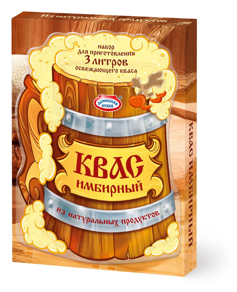 """Набор для приготовления ароматного домашнего кваса. В составе только натуральные ингредиенты: концентрат квасного сусла, дрожжи, имбирь, сушёные яблоки и изюм. Имбирь добавляет освежающему напитку пикантное послевкусие. Попробуйте всю линейку Кваса от """"Домашней кухни""""!"""