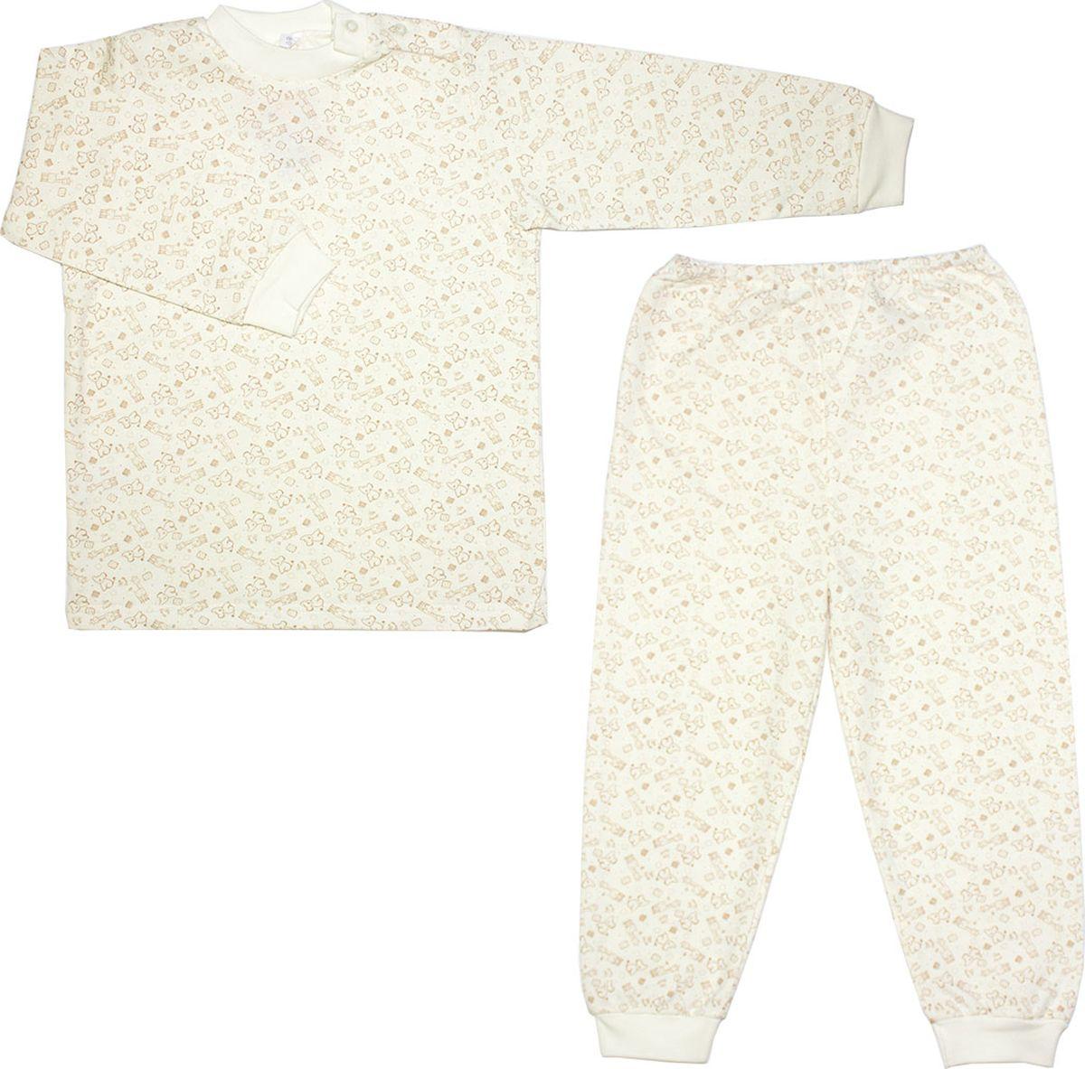 Пижама детская Осьминожка, цвет: молочный, бежевый. 416-20. Размер 86416-20Пижама из мягкого теплого футера.100% хлопок. Разные расцветки. Малышу уютно спасть в такой пижамке.