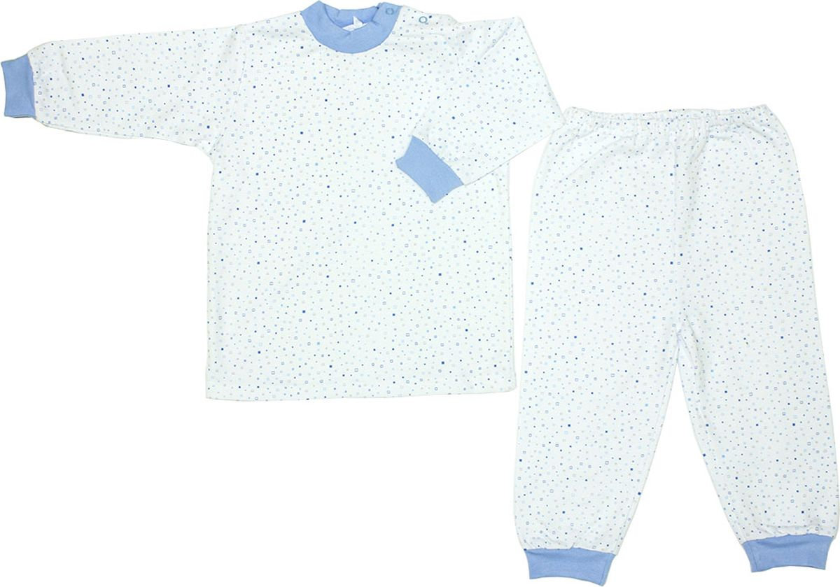 Пижама детская Осьминожка, цвет: молочный, голубой. 416-20. Размер 104416-20Пижама из мягкого теплого футера.100% хлопок. Разные расцветки. Малышу уютно спасть в такой пижамке.