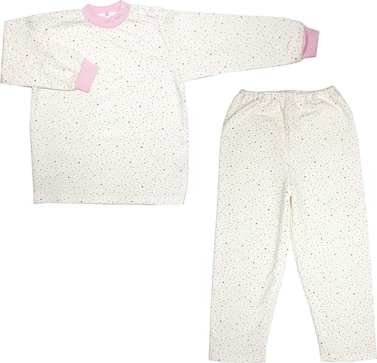 Пижама детская Осьминожка, цвет: молочный, розовый. 416-06. Размер 98416-06Пижама из мягкого теплого футера. Разные расцветки. Малышу уютно спать в такой пижамке.