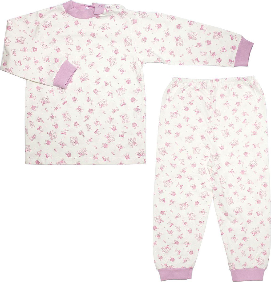Пижама для девочки Осьминожка, цвет: молочный, розовый. 116-20. Размер 116 dress 92 116 cm
