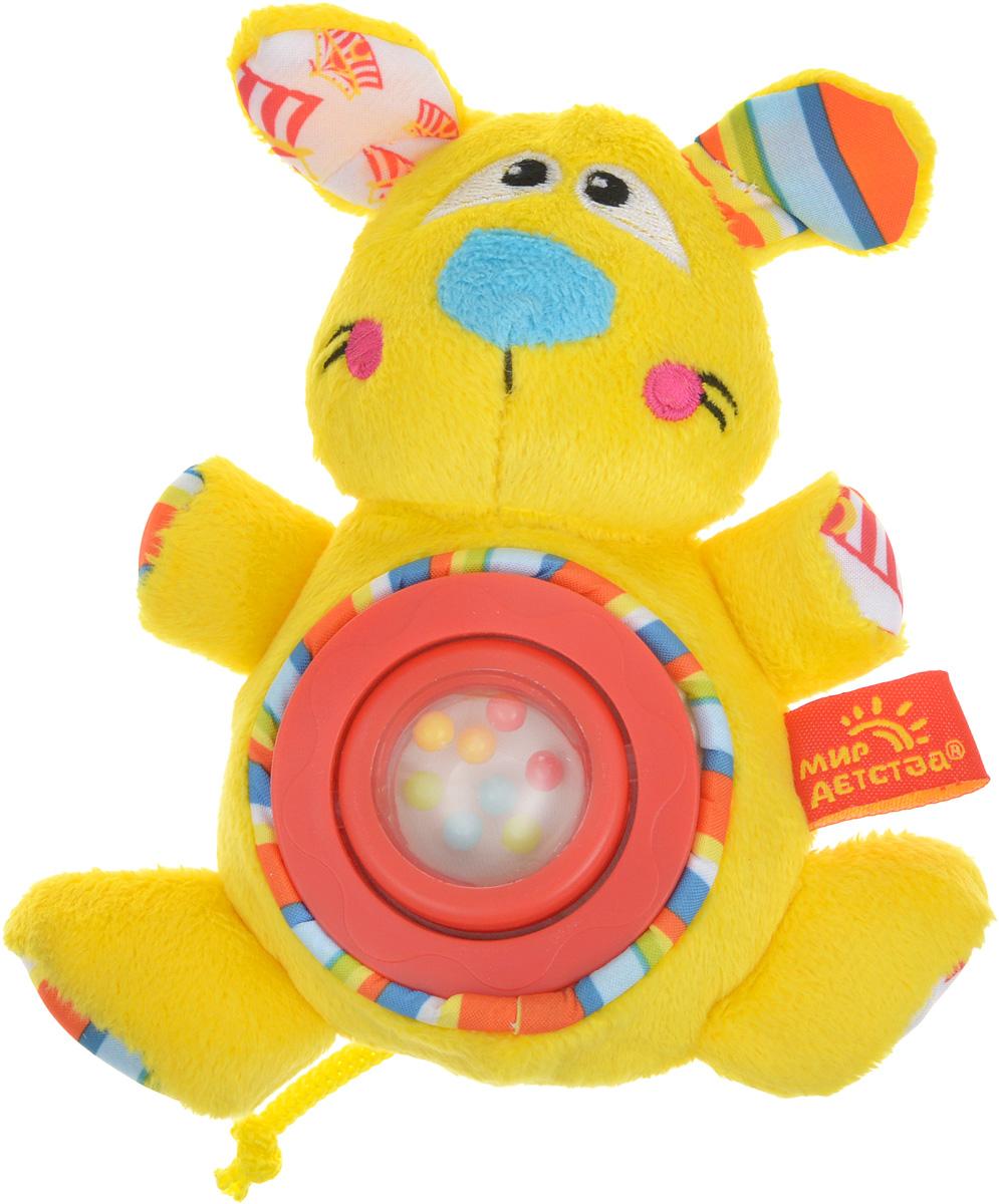 Мир детства Мягкая игрушка-погремушка Дрессировщица Алиса цвет желтый красный