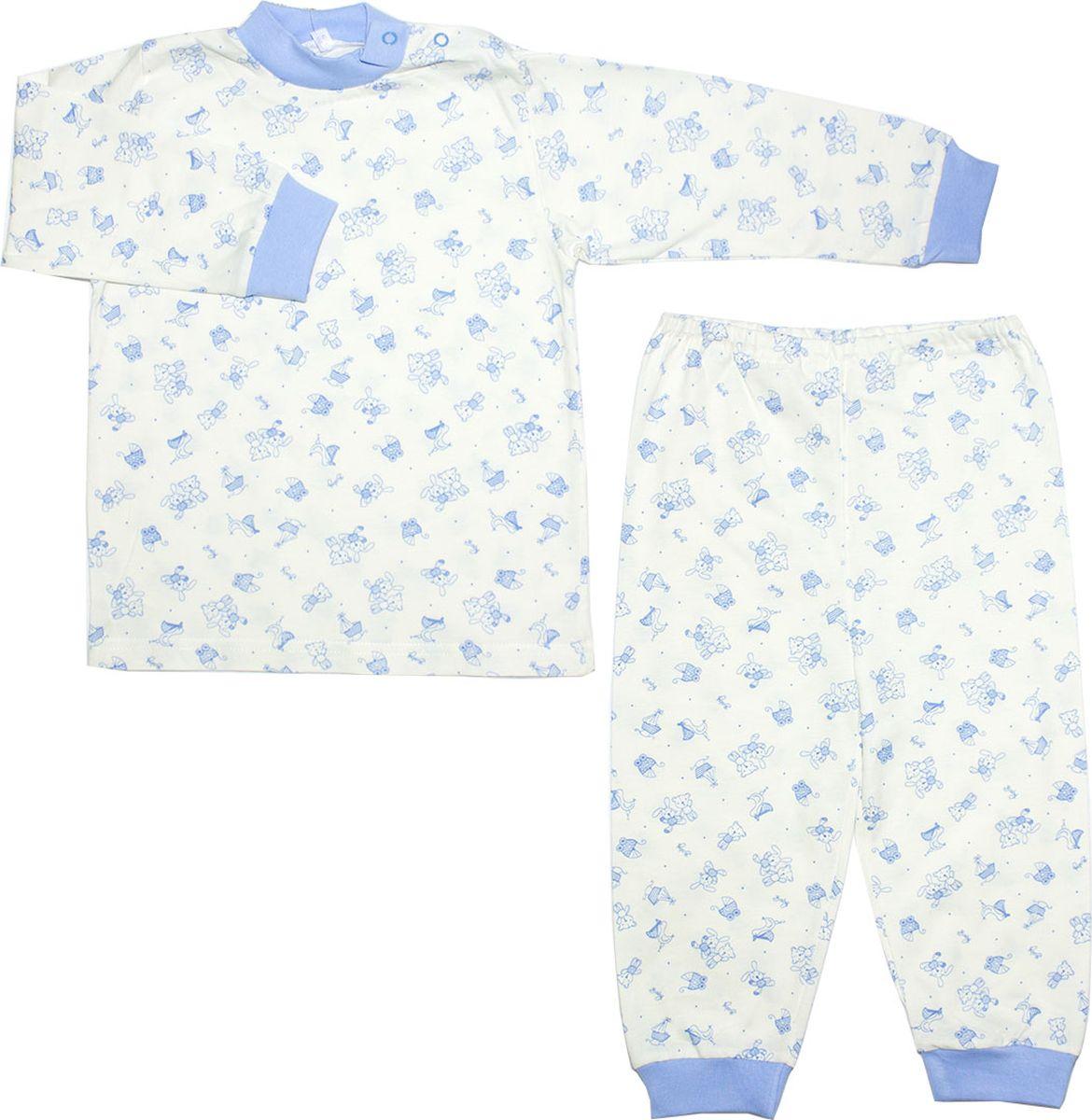 Пижама для мальчика Осьминожка, цвет: молочный, голубой. 116-20. Размер 116 dress 92 116 cm