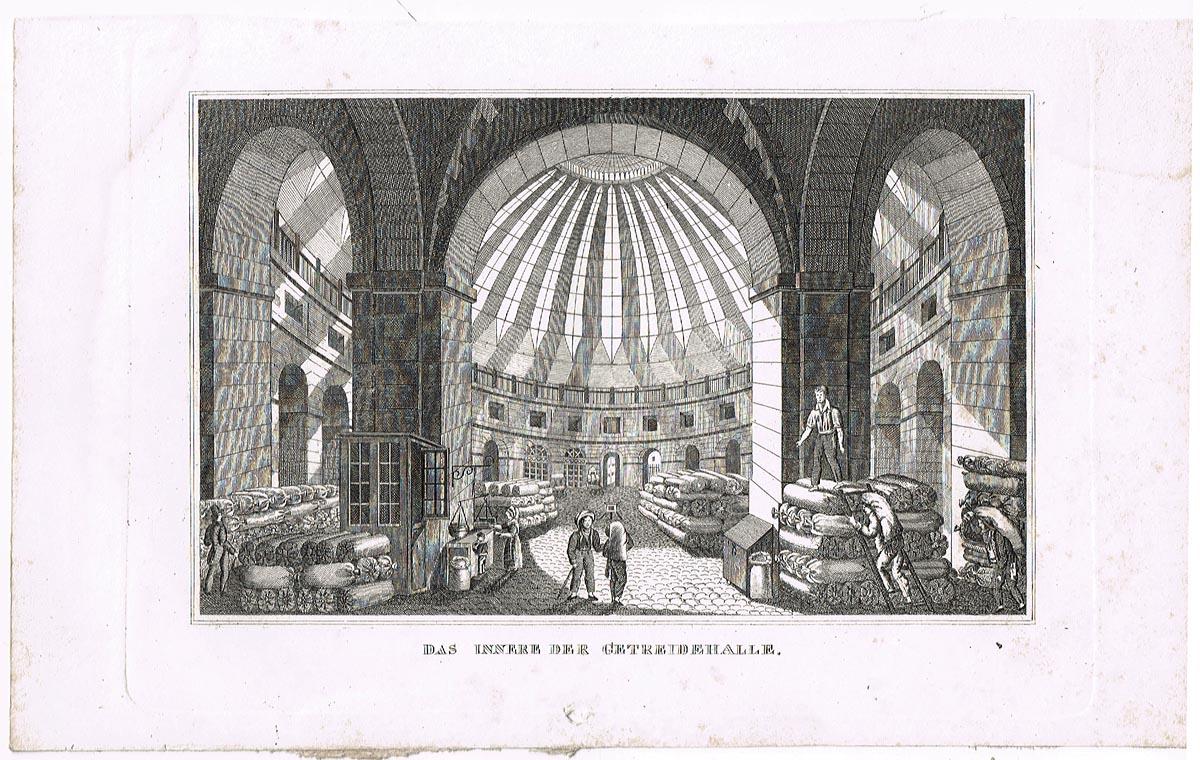 Интерьер зернохранилища (Das Innere der Getreidehalle). Гравюра, офорт. Германия, 1830-1840 гг