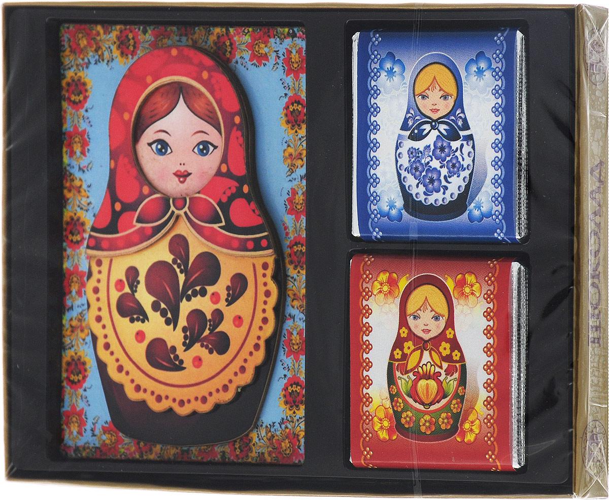 Дилан+ Шоколадный набор с магнитом Матрешка, 4 шт по 10 г дилан шоколадный набор матрешка 25 шт по 5 г