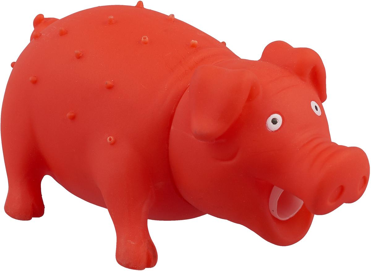 Игрушка для собак Уют Свинья, цвет: красный, 16 x 7 см уют