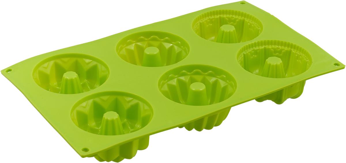 Форма для выпечки Доляна Кексики, цвет: салатовый, 29 х 16,5 х 3,5 см, 6 ячеек форма для 6 маффинов 29 4х21х3 5 см nadoba rada 761016