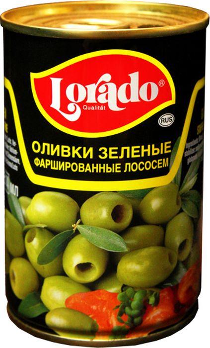 Lorado Оливки зеленые фаршированные лососем, 314 мл korvel натуральные зеленые оливки фаршированные чесноком колоссал 290 г
