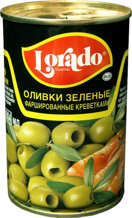 Lorado Оливки зеленые фаршированные креветками, 314 мл korvel натуральные зеленые оливки фаршированные миндалем супер колоссал 290 г