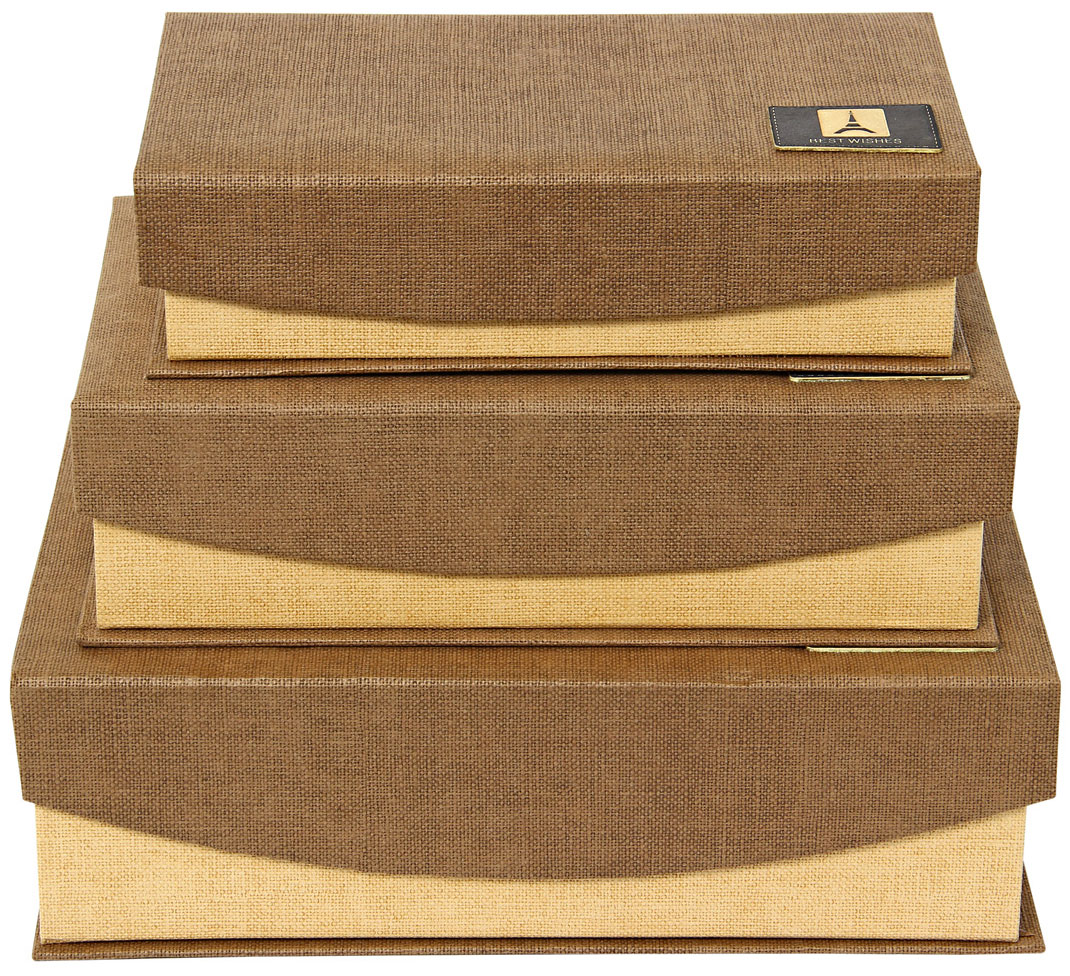 "Набор из трех коробок в форме книжки. Размер 19х14.5х5, 22х17х6.5, 24х19х8 см с магнитами ""Шоколад"""