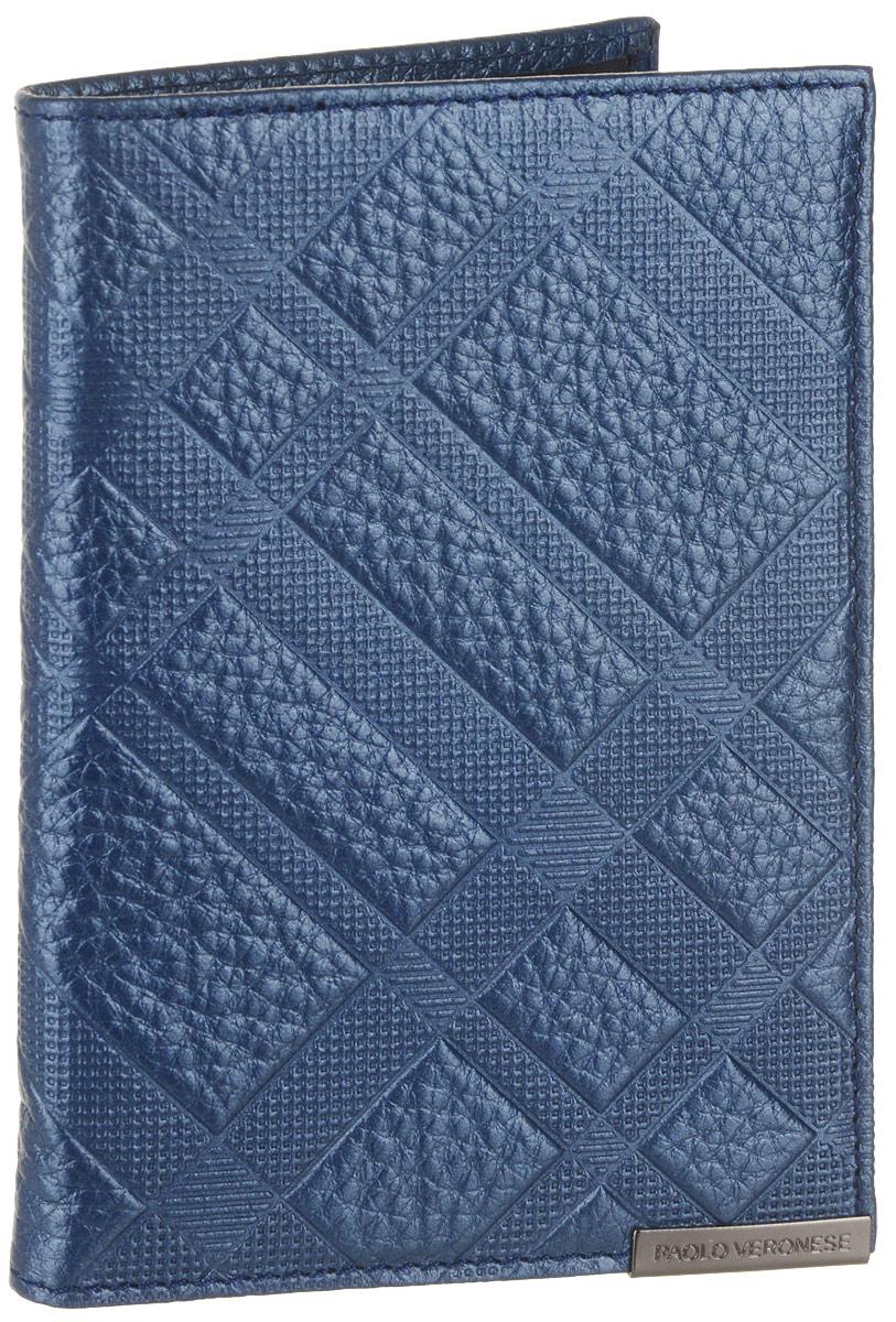 Обложка для паспорта женская Paolo Veronese, цвет: темно-синий. O057-A30-56Натуральная кожаОбложка для паспорта Paolo Veronese из натуральной кожи. Внутри карманы из пластика. Размеры (XxYxZ): 97х138х4