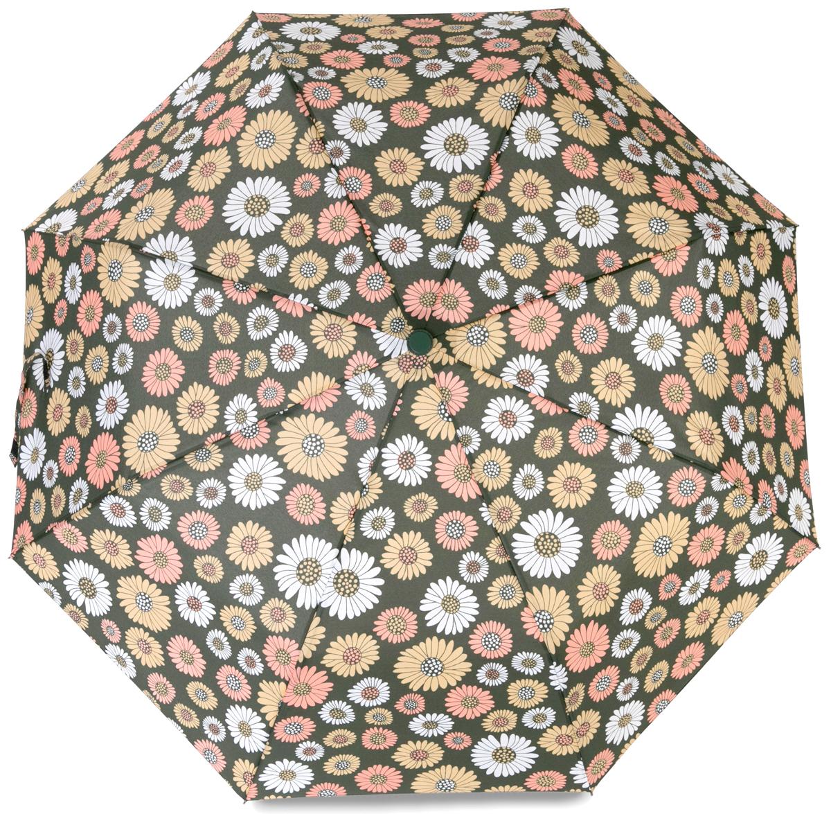 Зонт женский Baudet, полуавтомат, 3 сложения, цвет: темно-зеленый. 10598-4