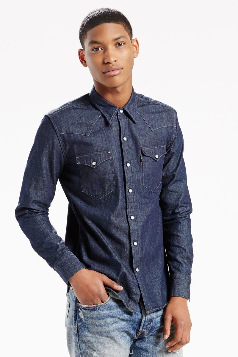 Рубашка мужская Levi's® Barstow Western, цвет: темно-синий. 6581601150. Размер XXL (54) цена