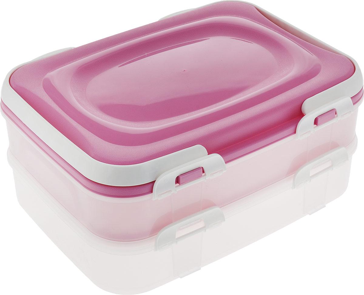 """Набор контейнеров Axentia """"Бокс-сет"""", цвет: розовый, 2 шт"""
