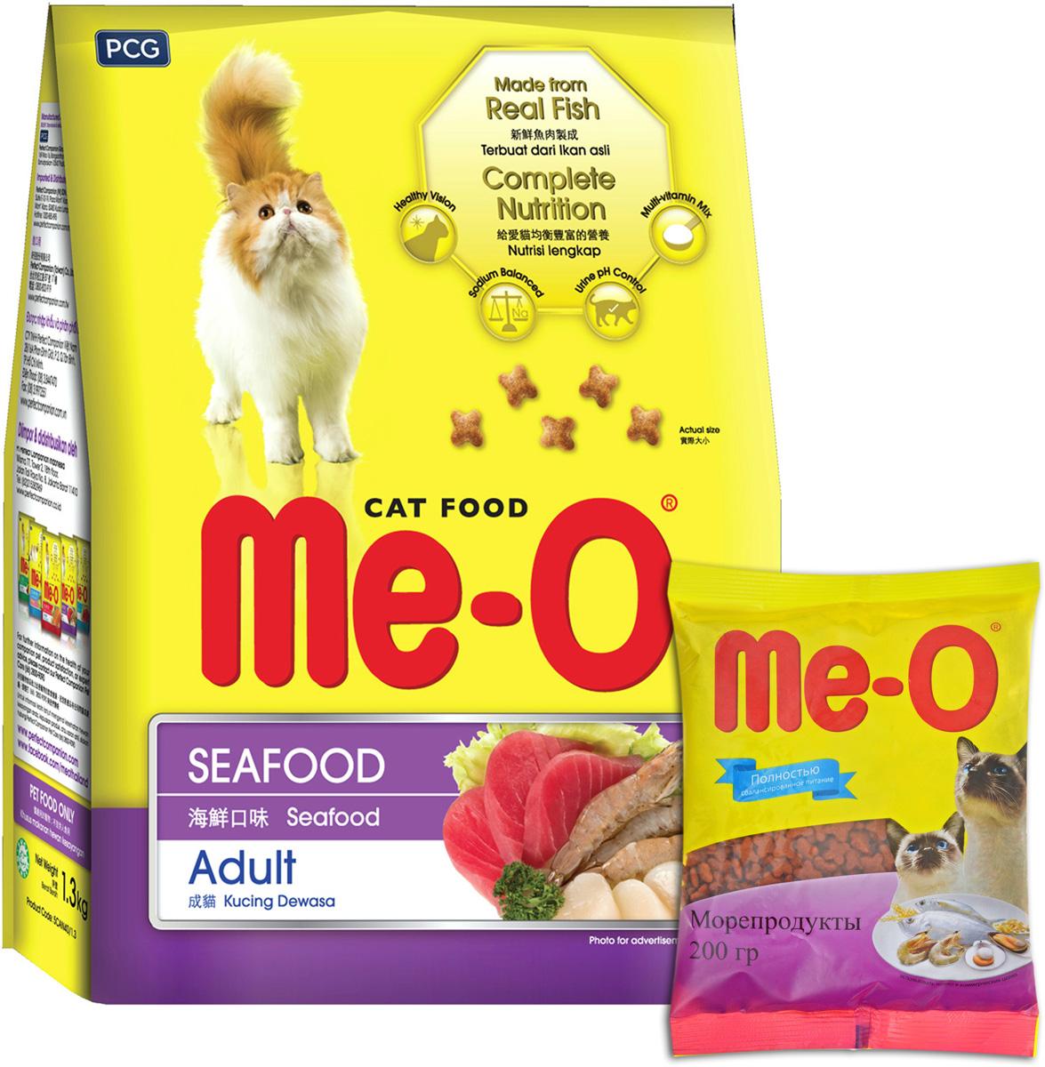 Корм сухой для кошек и котов PCG Ме-О, морепродукты, 200 г, 35 шт корм консервированный для кошек pcg ме о тунец в желе 400 г