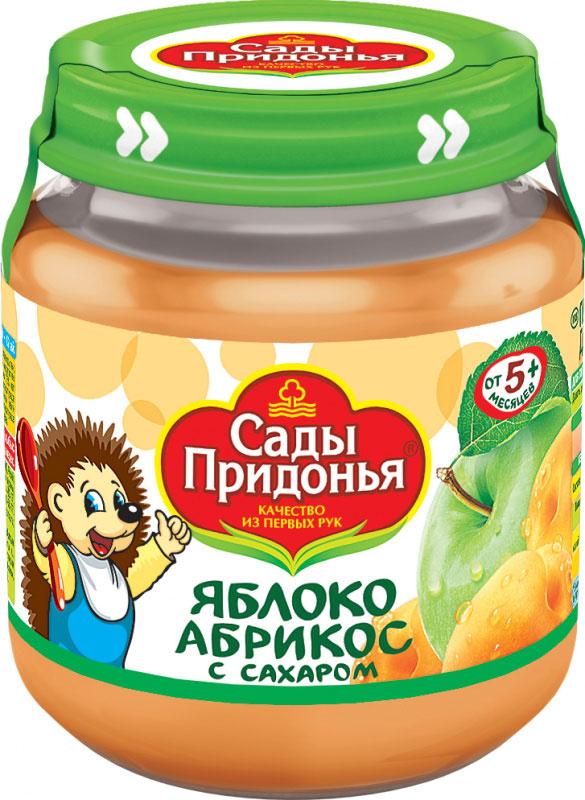 Сады Придонья пюре яблоко-абрикос с сахаром, 12 шт по 120 г