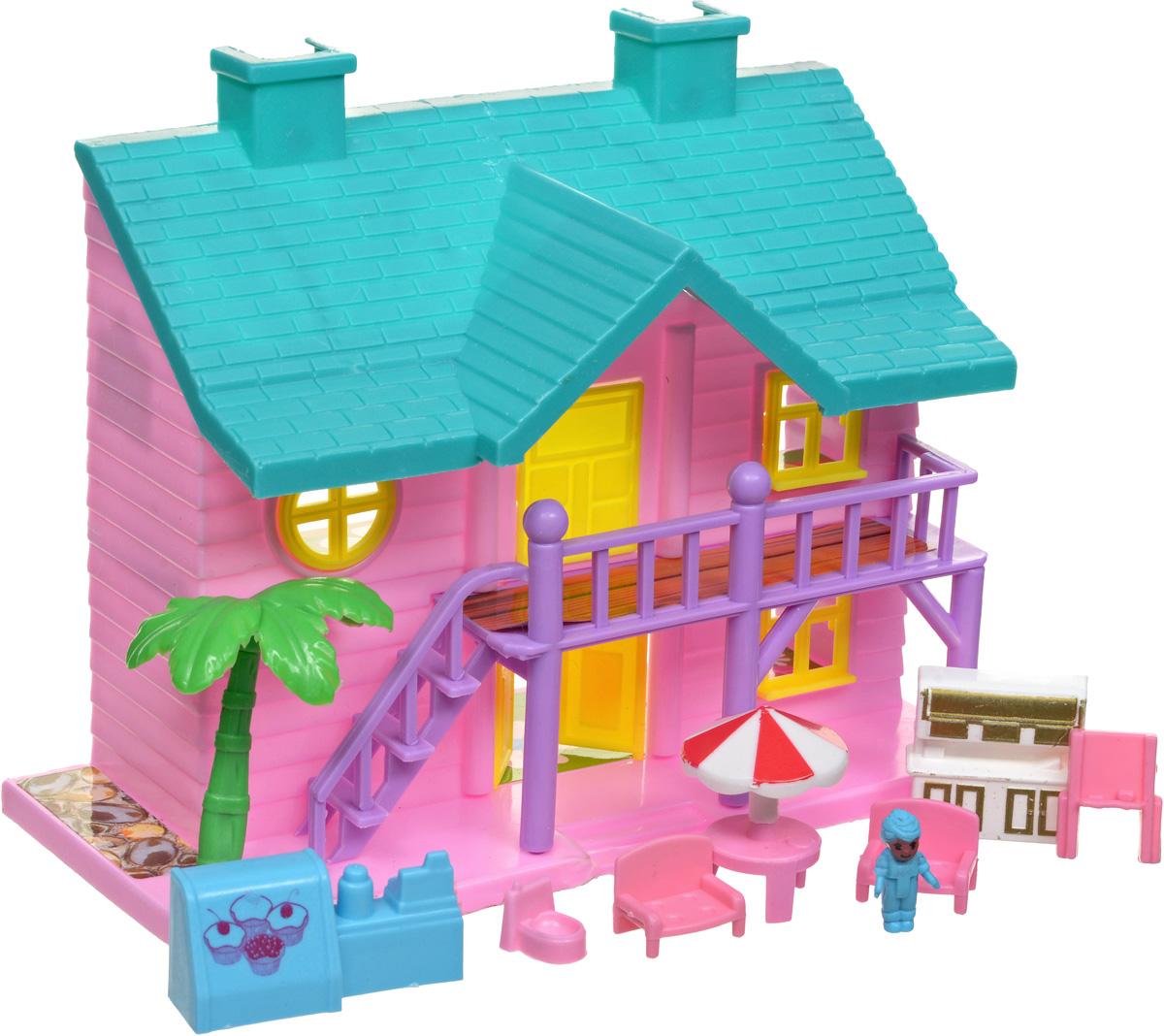 EstaBella Кукольный домик Солнечный городок улица Зеленая дом 4 с лестницей цвет розовый зеленый э цюрупа улица зеленая