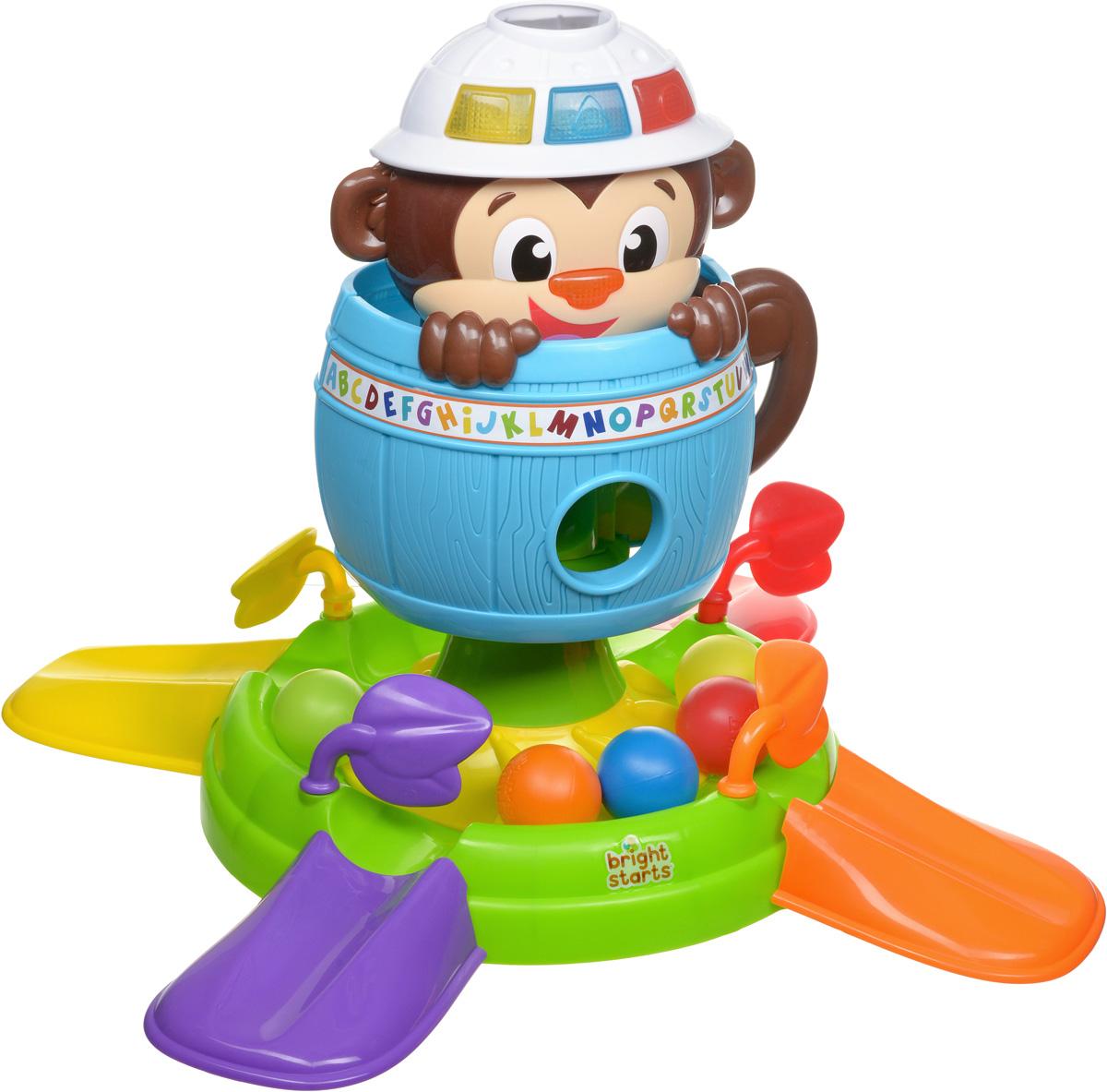 Bright Starts Развивающая игрушка Обезьянка в бочке цвет бочки голубой развивающая игрушка bright starts развивающая игрушка обезьянка на кольцах