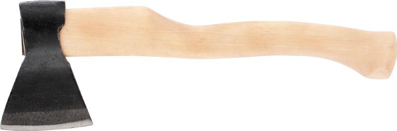 Топор изготовлен из стали марки 60Г. Рукоятка инструмента сделана из березы. Вес с топорищем 980 г. ,Общая длина в сборе составляет 400 мм.