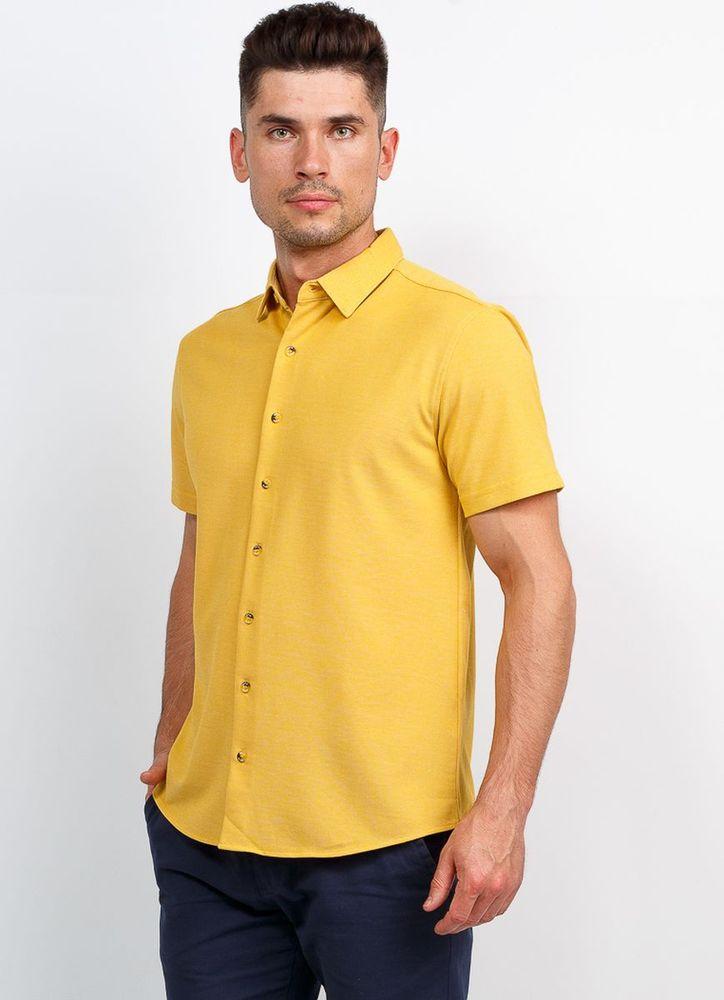 Рубашка мужская Greg, цвет: желтый. G143-M. Размер 56 рубашка мужская greg horman цвет белый 2 171 20 1391 размер 39 46