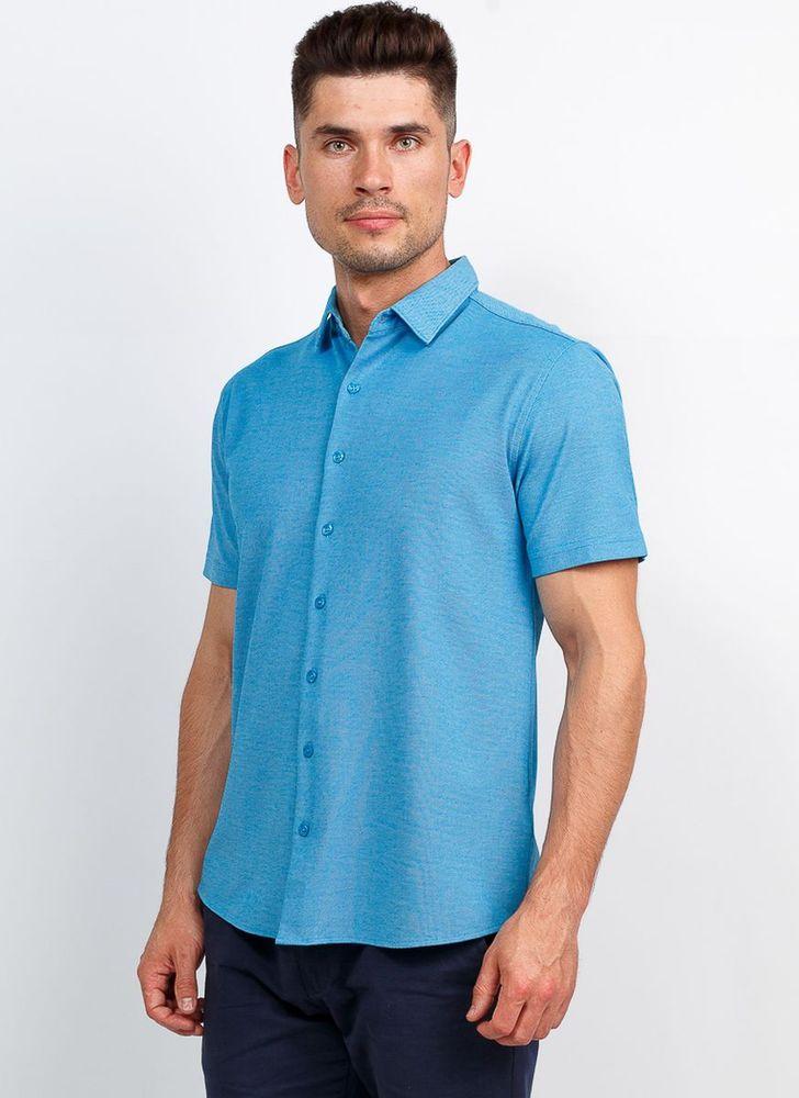 Рубашка мужская Greg, цвет: лазурь. G143-M. Размер 56 рубашка мужская greg horman цвет белый 2 171 20 1469 размер 38 44 46