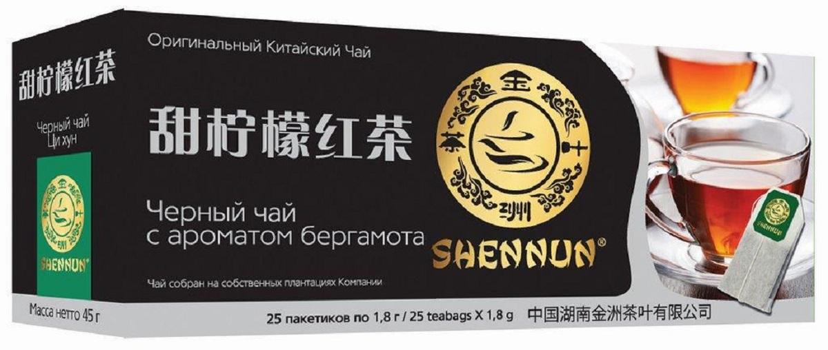 Shennun чай черный c бергамотом пакетированный, 25 шт чай черный с бергамотом альманах 25 пакетиков по 2г
