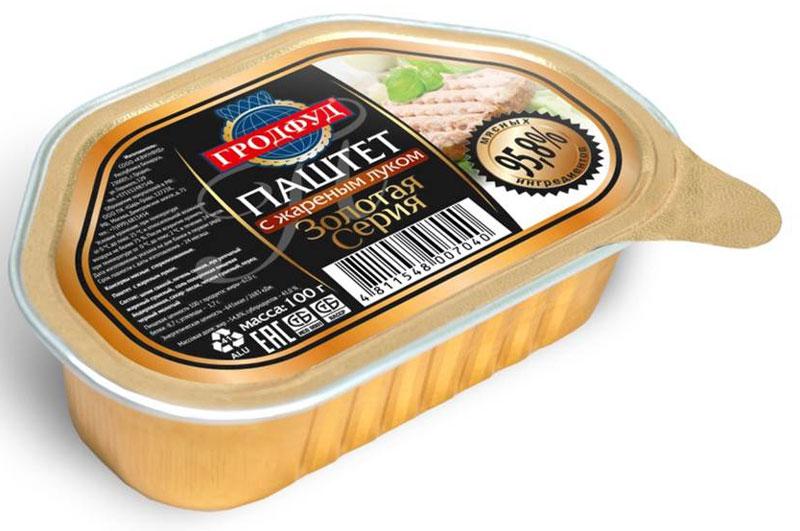 Гродфуд Золотая серия Паштет с жареным луком, 100 г4811548007040- уникальный продукт, не имеющий аналогов на рынке;- 100% натуральный продукт;- 95,8% мясных ингредиентов;- без консервантов и усилителей вкуса.