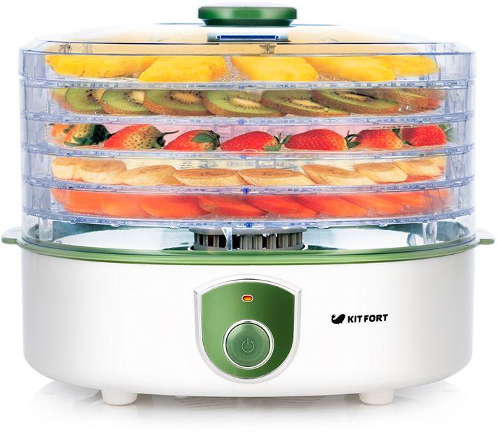 Kitfort КТ-1901, White дегидраторКТ-1901Электрическая сушилка Kitfort KT-1901 предназначена для сушки овощей, фруктов, ягод, грибов, корнеплодов, трав и зелени, мяса и рыбы, хлеба. Поддоны и крышка выполнены из прозрачного пластика, поэтому вы можете легко наблюдать за процессом сушки. Съемные поддоны могут быть установлены в двух положениях по высоте в зависимости от размеров высушиваемых продуктов. Сушилка оборудована вентилятором для циркуляции воздуха и нагревателем с контролем температуры и рассчитана на продолжительный режим работы до 72 часов подряд.