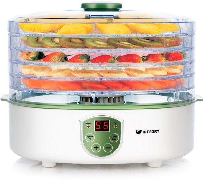 Электрическая сушилка Kitfort KT-1902 предназначена для сушки овощей, фруктов, ягод, грибов, корнеплодов, трав и зелени, мяса и рыбы, хлеба. Поддоны и крышка выполнены из прозрачного пластика, благодаря чему вы можете легко наблюдать за процессом сушки. Съемные поддоны могут быть установлены в двух положениях по высоте в зависимости от размеров высушиваемых продуктов. Сушилка оборудована вентилятором для циркуляции воздуха и нагревателем с контролем температуры и рассчитана на продолжительный режим работы до 72 часов подряд. Вы можете установить температуру сушки в диапазоне 35-70°С с шагом в 5 градусов и таймер до 72 часов с шагом в 1 час.