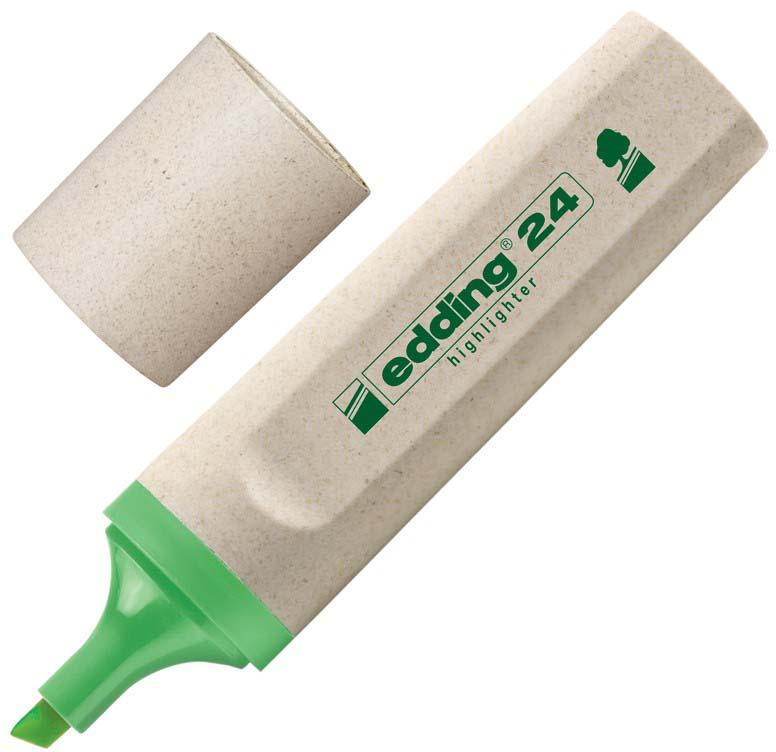 Текстовыделитель Edding серии Эко, предназначенный для маркировки текста наразличных типах бумаги. Эргономичный корпус выполнен изпластика. Скошенный наконечник обеспечивает толщину линии от2до5мм. Флуоресцентные чернила зеленого цвета наводной основе нетоксичны, несодержат вредных веществ, устойчивы квоздействию света. Изделие на97% изготовлено изпереработанного сырья без вреда для окружающей среды.