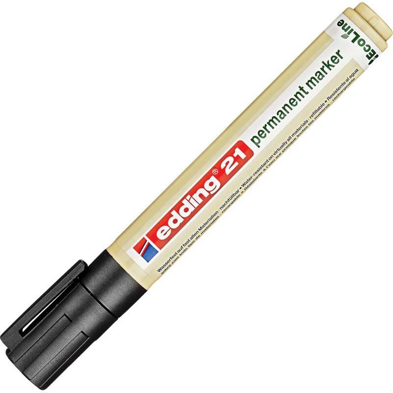 Перманентный маркер Edding Eco E-21/001в эргономичном пластиковом корпусе минимум на80% изготовлен извозобновляемого сырья. Быстросохнущие нестираемые чернила наспиртовой основе без добавления толуола иксилола почти неимеют запаха, устойчивы кистиранию, свету иводе. Идеально подходит для надписей наметалле (втом числе инагрязном), картоне. Может использоваться для таких поверхностей, как дерево (втом числе влажное), стекло, пластик, керамика, кафель, различные пленки. Наконечник круглой формы обеспечивает толщину линии от1,5 до3мм. Edding ECO E-21/1 является заправляемым, рекомендуются чернила Edding Т-25. Страна производства— Германия. Цвет— черный.
