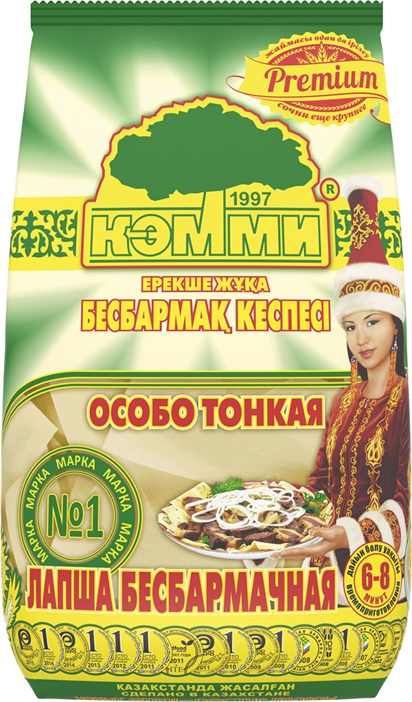 """Лапша бесбармачная - полуфабрикат, используемый для приготовления традиционного блюда народов, проживающих в странах Средней Азии. """"Бесбармак"""" - одно из самых изысканных блюд казахской национальной кухни, пользующееся общей любовью и являющееся первым блюдом праздничного стола. Лапша бесбармачная не разваривается и по своим качествам превосходит лапшу, приготовленную в домашних условиях.Лапша """"КЭММИ"""" не разваривается и по своим качественным характеристикам превосходит лапшу, приготовленную в домашних условиях!"""