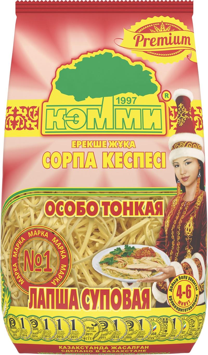 """Лапша суповая - полуфабрикат, используемый для приготовления супов и гарниров к традиционным общенациональным блюдам, а так же для приготовления казахского национального блюда - """"Кеспе"""".Лапша """"КЭММИ"""" не разваривается и по своим качественным характеристикам превосходит лапшу, приготовленную в домашних условиях!"""