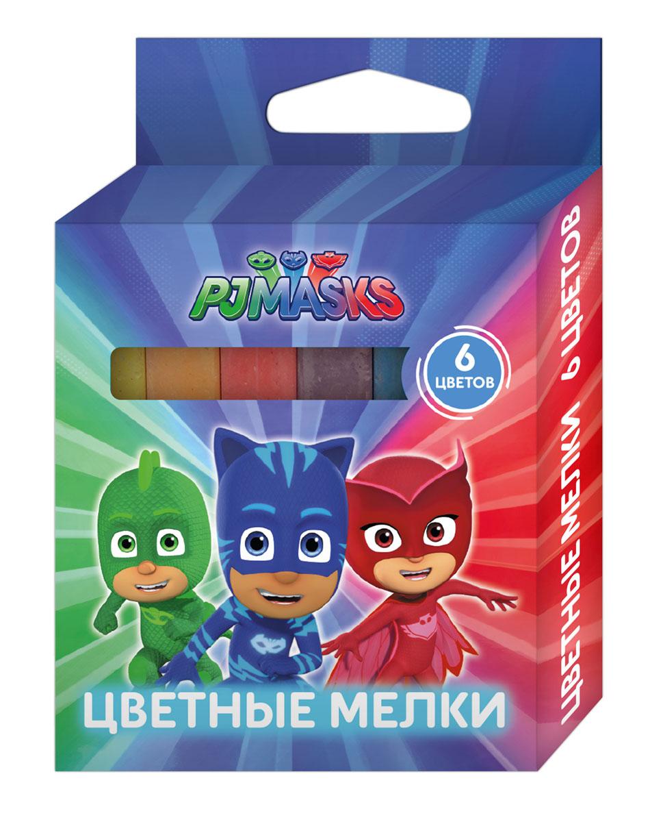 Герои в масках PJ Masks Мелки 6 цветов pj masks набор толстых восковых карандашей герои в масках 8 цветов 34062