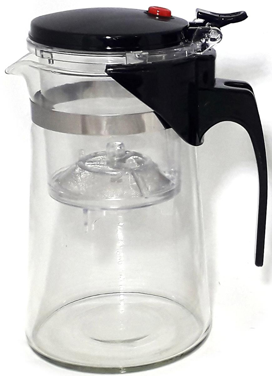Чайник стеклянный МФК-профит, с кнопкой, цвет: черный, 800 мл gipfel стеклянный заварочный чайник milebi 800 мл