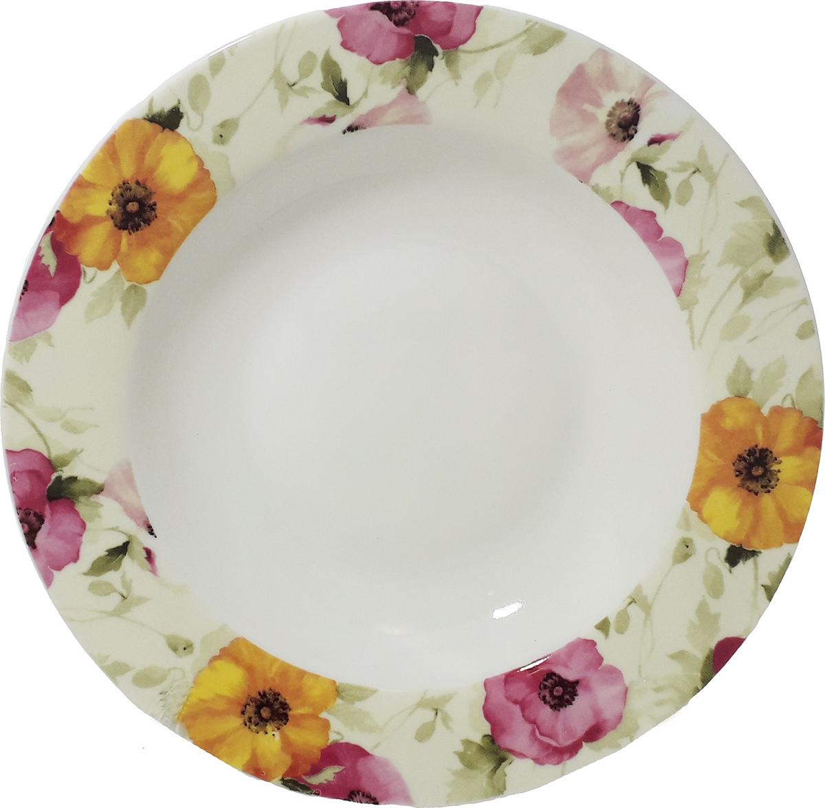 Тарелка суповая МФК-профит Дели, 18 смMFK06475*Оригинальная тарелка из тонкой стеклокерамики выгодно подчеркнет интерьер вашей кухни. Изящный дизайн придется повкусу и ценителям классики, и тем, кто предпочитает утонченность.Тарелка Chinbull идеально подойдет для сервировкистола и станет отличным подарком к любому празднику. Не рекомендуется использовать в микроволновой печи.