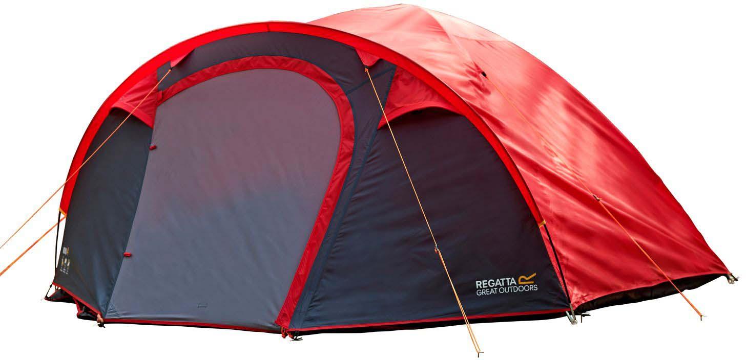 Палатка Regatta Kivu 4 v2, 4-местная, цвет: красныйRCE165Четырехместная палатка для кемпинга. Быстрая и удобная система cборки, 10 минут на установку. Прочная водонепроницаемая ткань Hydrafort. Показатель водонепроницаемости тента составляет 3000 мм/в.ст/24ч. Огнеустойчивая ткань. В комплекте прочные и гибкие дуги из стекловолокна. Внутренние карманы палатки для личных вещей, также внутри расположены точки крепления фонаря. Множественные сетчатые карманы и дверь позволяют воздушным потокам беспрепятственно проникать внутрь, в тоже время защищают от проникновения насекомых. Фиксирующие оттяжки яркого цвета для дополнительное видимости в темное время суток. Вшитая нижняя поверхность из износостойкого полиэстера, водонепроницаемость 10 000 мм/в.ст/24ч. Идеально подходит для фестивалей под открытым небом и кемпинга. Размер палатки: 270 х 310 х 140 см.Размер (в собранном виде): 58 х 22 х 22 см.Вес 5,3 кг.