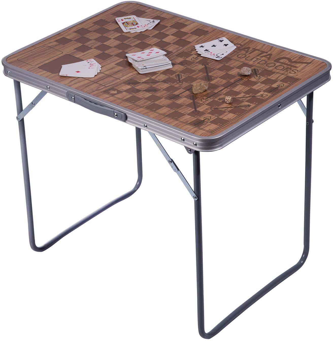 Складной стол, максимальная нагрузка — 30 кг. Покрытие стола из ДВП, стальная рама. Ножки складываются при транспортировке. Вес 3 кг. Рисунок стола с классическими играми для всей семьи.
