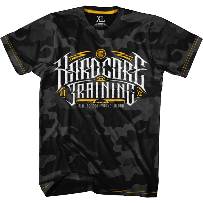 Футболка мужская Hardcore Training Retro Sign 2.0 Night Camo, цвет: серый. hctshirt0188. Размер S (46) yo zuri hardcore surface crank