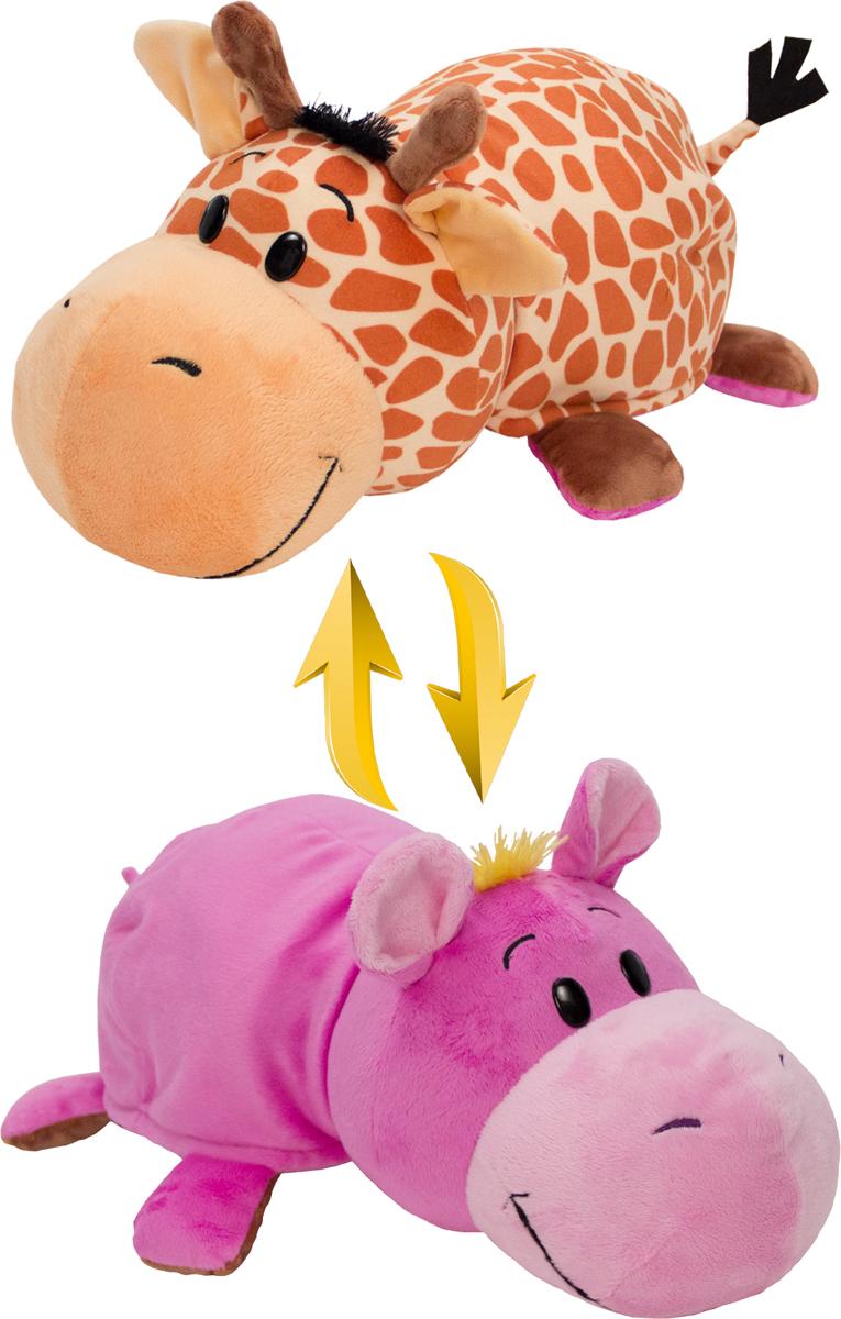 1TOYМягкая игрушкаВывернушка 2в1 Жираф-Бегемот 40 см - Мягкие игрушки