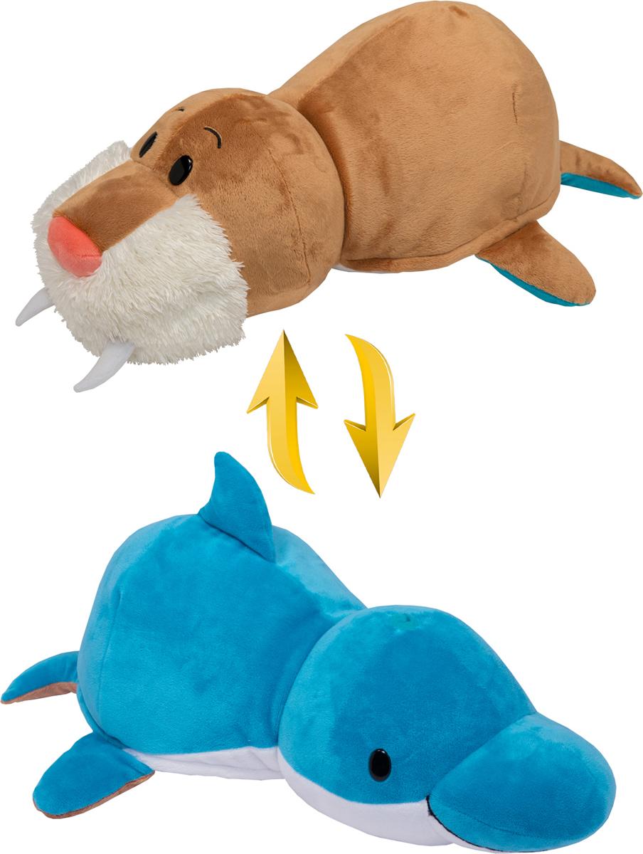 1TOYМягкая игрушкаВывернушка 2в1 Морж-Дельфин 20 см - Мягкие игрушки