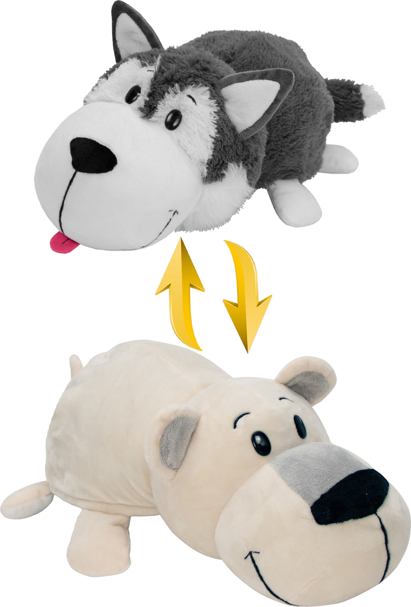 1TOYМягкая игрушкаВывернушка 2в1 Хаски-Полярный медведь 20 см - Мягкие игрушки